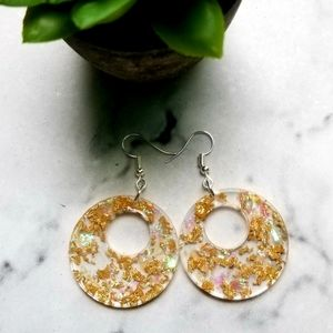 Clear and gold leaf earrings